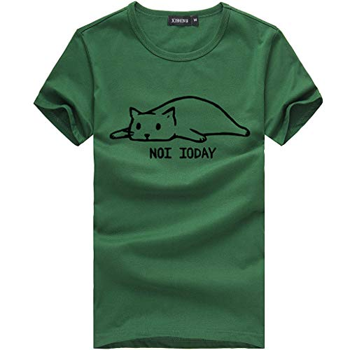 Fastbot Women Summer Casual Loose Letter Printed Short Sleeve Cute Cat T-Shirt Tops Tees Green