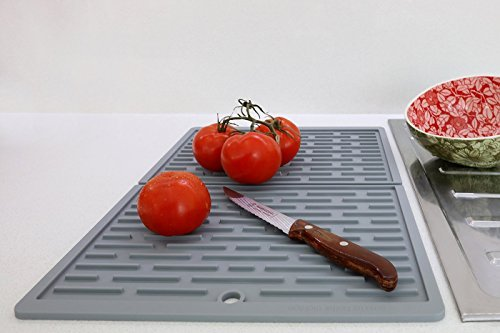 SbS Folding Silicone Dish Drying Mat – Light Gray – 12""