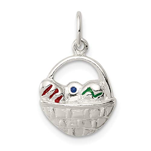 925 Sterling Silver Enameled Easter Basket Necklace Pendant Charm Holiday Fine Jewelry Gifts For Women For Her