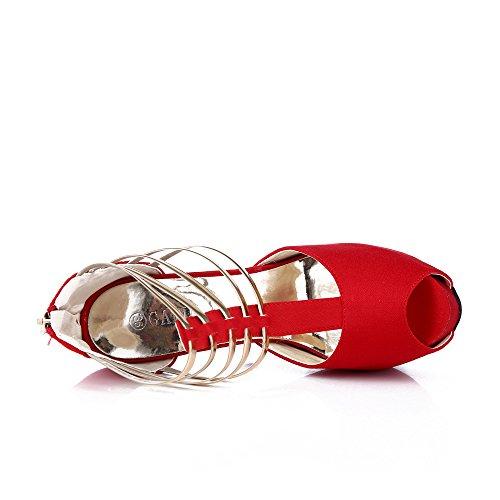 Donne Punta Rosso Del Piattaforma Partito Delle Alto Pompa Per Tacco Aperta Gatuxus Scarpe Il qS1wFpw
