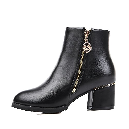 Solid PU Heels Women's Zipper Closed Boots Black Pointed AmoonyFashion Toe Kitten 5W1Rp41Oq