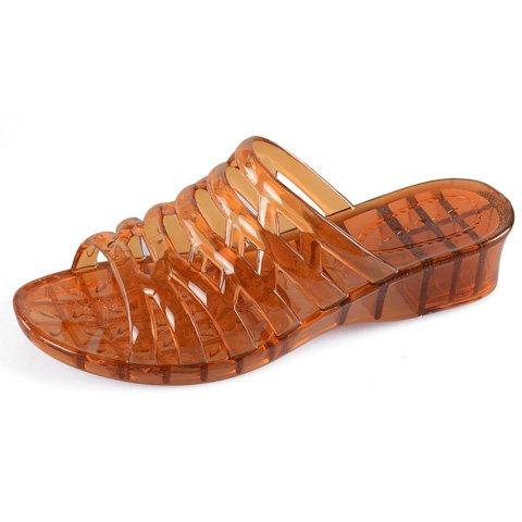 Di Spiaggia Bagno Ciabatte Cool Da Golden Pantofole Estate Trasparente Tacco Pantofole Qingchunhuangtang Scarpe Crystal Di Plastica Alto EqnvCYO
