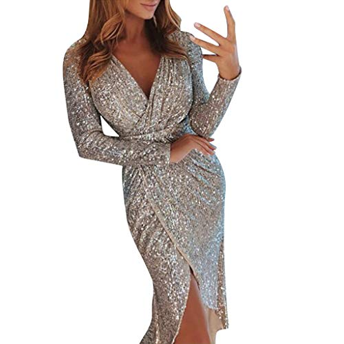 POQOQ Dress Women Deep V Neck Sequins Wrap Ruched Long Sleeve Nightclub L Beige