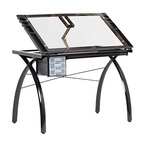 - SD STUDIO DESIGNS Futura Modern Glass Top Adjustable Drafting Table Craft Table Drawing Desk Hobby Table Writing Desk Studio Desk with Drawers, 38''W x 24''D, Angle Adjustable Top in Black / Clear Glass