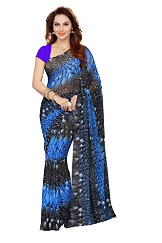 Ishin Faux Georgette Blue & Grey Floral Printed Women's Saree.