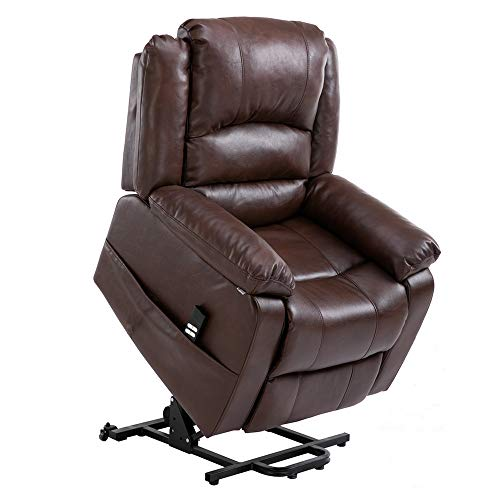 Homegear Air Leather Heavy Duty Dual Motor Power Lift Electric Recliner Chair for Users up to 770lbs, Brown