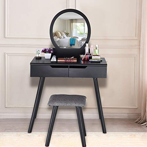 Sodoop Vanity Table Set,with Round Mirror 2 Large Sliding Drawers with Sliding Rails Wood Makeup Dressing Table with Cushioned Stool,Vintage &Beautiful (Black)