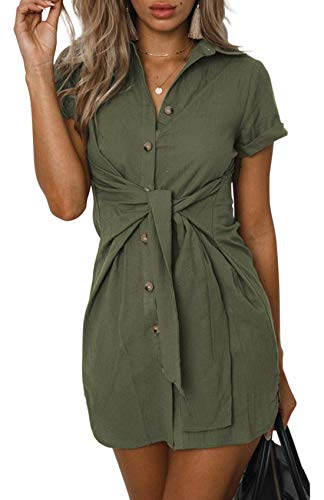 6d55a14421749 ZESICA Women's Summer Short Sleeve V Neck Button Down Front Tie Casual Short  Tunic Dress