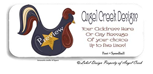 60 Primitive Country Star Rooster Personalized Return Address Labels ()