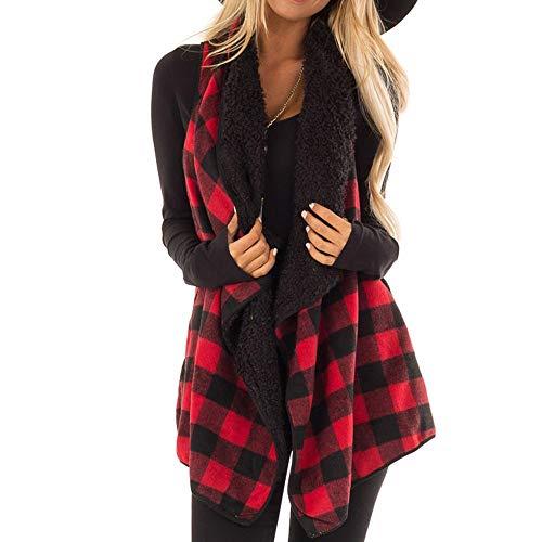(Ski Outerwear, Womens Casual Sleeveless Lapel Open Front Jacket Plaid Vest Cardigan)