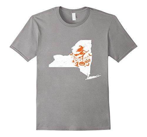 Mens New York State Flag Funny Witch Pumpkin Halloween shirt 2XL (Best Halloween Costumes New York City)