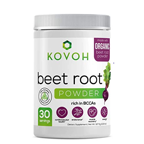 Kovoh Organic Beet Root Powder. Nitric oxide supplement with 30 servings. GMO and free from fillers, gluten, artificial ingredients and preservatives