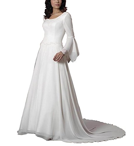 GEORGE Einfache Hochzeitskleider Elfenbein langen Satin BRIDE Chiffon Brautkleider aermel zrqzS