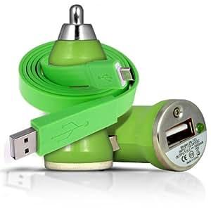 ONX3 Motorola Moto G (verde) Rapid Bullet In Car Charger USB con la carga rápida Cable Light & Super 1 Metro plana de transferencia de datos de sincronización LED