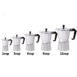 1/3/6/9/12cup Stovetop Moka Coffee Maker Italian Top Moka Espresso Cafetera Expresso Percolator Cafe Coffee Pot,1 cup