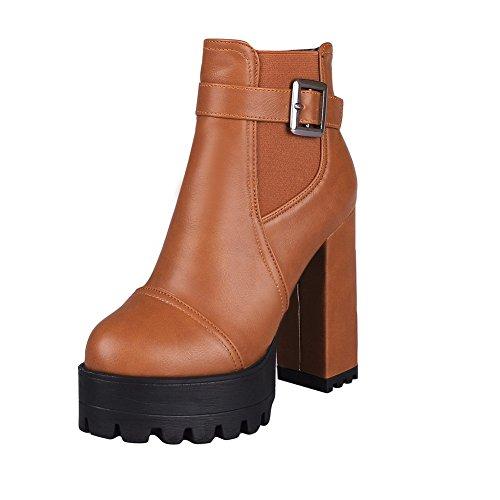 AllhqFashion Damen Blend-Materialien Niedrig-Spitze Hoher Absatz Rund Zehe Stiefel Braun