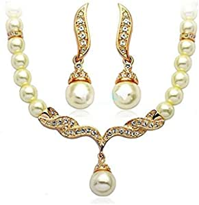 Women's Pearl Set Of Rose Gold Color Necklace And Earrings