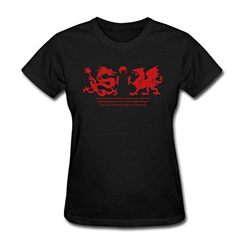 Yuanmei Black Womens Bangor University T Shirts Organic Cotton Casual