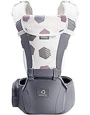 Bebamour Bärsele för 0-36 månader, 3D Air Mesh Bärsele ryggsäck för nyfödda till småbarn, godkänd av säkerhetsstandard, Ergonomisk baby höftstol 6 i 1 främre bärare(New Cotton Grey)