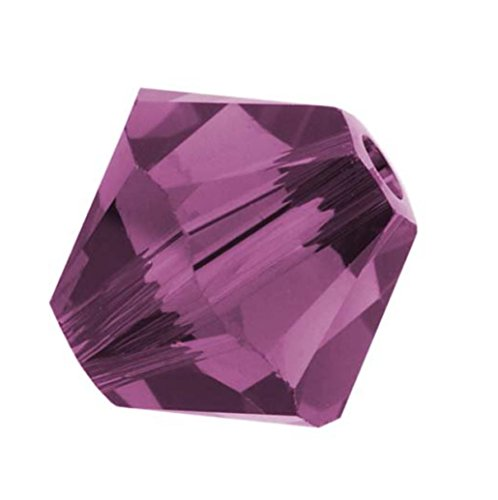 - 25pcs Authentic 4mm Small Swarovski Crystals 5328 Xillion Bicone Crystal Beads for Jewelry Craft Making (Amethyst) SWA-b411
