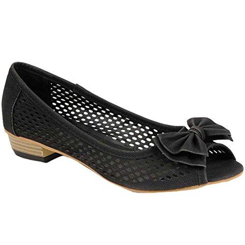 Noir Femme Pour Été Sur Chaussure Avant Ouvert Sandale Fantasia Noeud Bout Plate q1fPxfnU