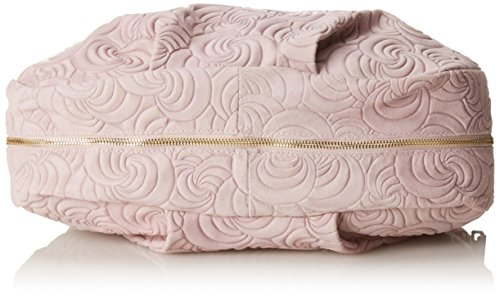 CTM Elegante Handtasche der Frau, italienische echtem Wildleder in Italien mit geometrischen Mustern hergestellt 33x33x13 Cm Pink (Rosa)