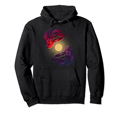Unisex Spiritual Red and Purple Zen Koi Fish in Moon Pond Hoodie 2XL Black (Sweatshirt Fish Adult)