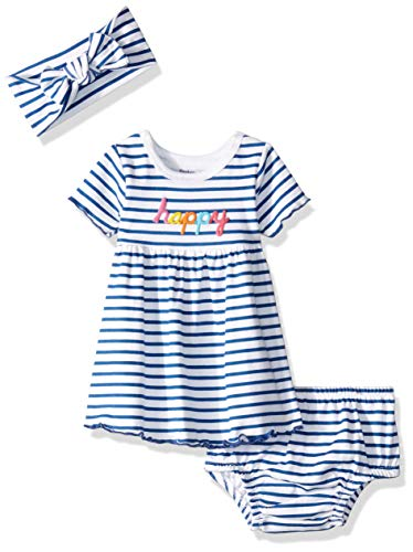 Gerber Baby Girls 3-Piece Dress, Diaper Cover and Headband Set, Thin Stripe, 24 Months