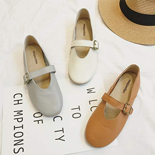 Da Donna Shoes Grigio Con Cinturino Fuxitoggo Marrone 39 Comfort Pelle colore Soft Eu Fibbia Dimensione In Ballerine tIvxwqFB