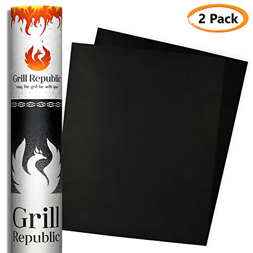GRILL REPUBLIC BBQ Grill Mat - Set of 2 Premium Heavy Duty non stick grill mats - FDA approved Black outdoor barbecue grill matts - reusable 500 times - easy to clean - 13 x 15.7 inch