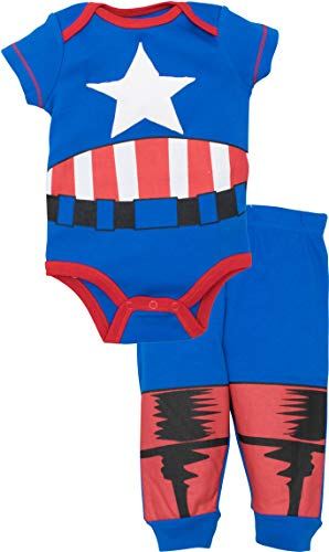 Marvel Avengers Baby Boys' Bodysuit & Pants Clothing Set, Captain America (6-9M)]()