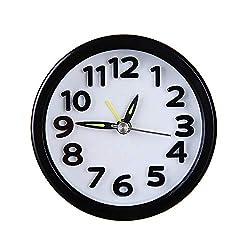 Weite Alarm Clock, [Simple Style] Cute Portable Circular Small Bed Compact Travel Quartz Beep Sleeping Timer (Black)