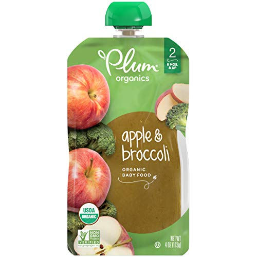 Plum Organics Stage 2, Organic Baby Food, Apple and Broccoli, 4 ounce pouches (Pack of 12) (Packaging May Vary)