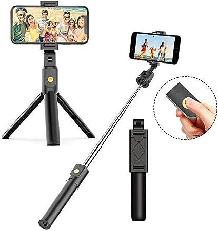 Jumkeet Perche Selfie Bluetooth, 3 en 1 Mini Trépied Smartphone Monopode Selfie Stick Télescopique avec Télécommande Matériau Alliage d'Aluminium pour