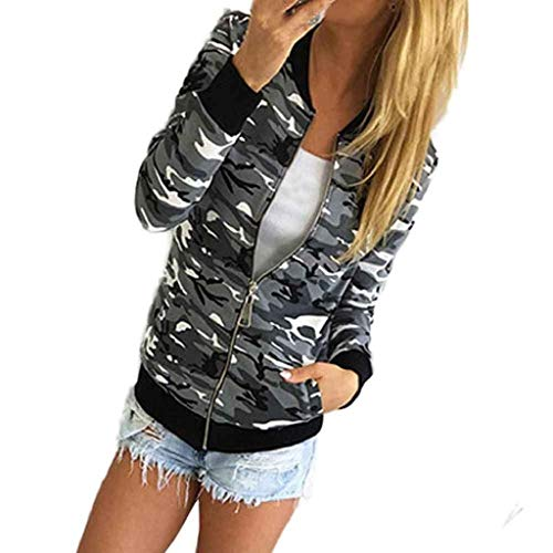 Classiche Grau Giacca Army Libero Donne Militare Giacche Tempo Elegante Cerniera Outerwear Donna Giubbino Lunghe Con Maniche Coat Camuffare Moda Autunno Primaverile R6PdqB
