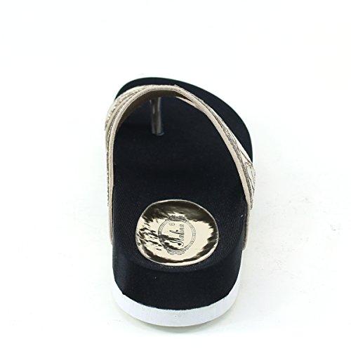 Nueva Brieten Mujeres Wide Strappy Heart Print Rhinstones Comfort Thick Sole Slipper Diapositivas Sandalias De Oro