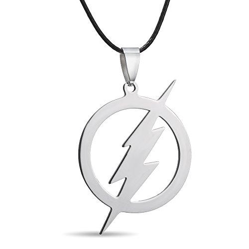 RINHOO FRIENDSHIP Stainless Steel Flash Pendant Necklace- Superhero Lightning Round Leather Chain (Flash Necklace)