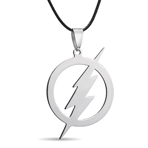 Price comparison product image RINHOO FRIENDSHIP Stainless Steel Flash Pendant Necklace- Superhero Lightning Round Leather Chain Father's Day Gift (Flash necklace)