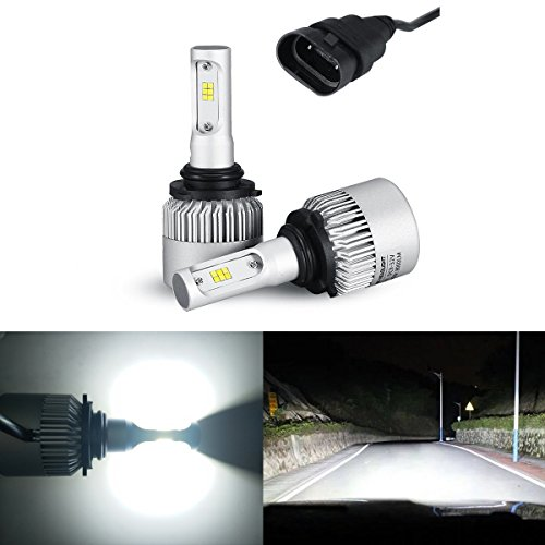 iBrightstar Newest 9-32V 8000 Lumens Xtremely Bright w/ High Power Y19 CSP Chips 9006 HB4 LED Headlight Bulbs for Headlights, Fog Lights, Xenon White(6500K) (Crystal Hyper White Bulbs)