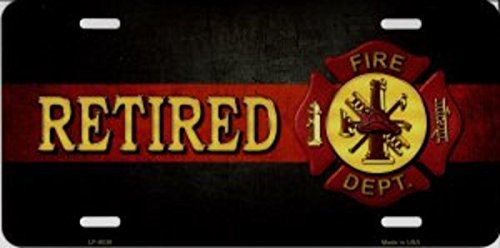 Fire Fighter Retired With Logo Metal License Plate