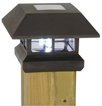 Moonrays 91249 Solar-Powered Black Plastic Post-Cap LED Lamp Light