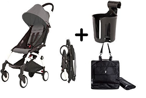 BabyZen YoYo Stroller - Black/Grey + Babyzen Premium YoYo Travel Bag, Black + BabyZen YOYO Cup Holder Complete Package