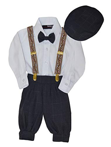 G284 Baby Boys Vintage Knickers Outfit Suspenders Set (6, Charcoal)]()