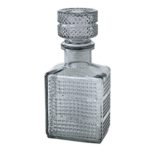 Time Concept Enrich Ink Style Glass Bottle with Lid - Smoke - Decorative Antique-Inspired Storage, Stemmed Flower Vase
