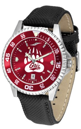 SunTime Montana Grizzlies Competitor AnoChrome Men's Watch with Nylon/Leather Band and Colored Bezel ()