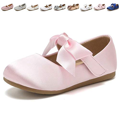 CIOR Toddler Girls Ballet Flats Shoes Ballerina Princess Dress Bowknot Jane Mary Wedding Party,VGZA3,S.Pink,25 ()