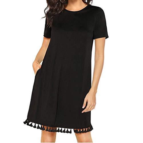 Mr.Macy Women's Summer Short Sleeve Pocket Tassel Hem Loose Tunic T-Shirt Dress Black