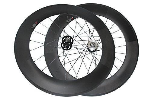 LOLTRA 88mm Tubular Carbon Track Bike Wheelset Fixed Gear UD Matte Rim 20/24 Holes