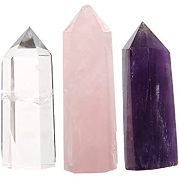 Healing Crystal Wands, Charminer Set of 3 2'' Amethyst Crystal, Clear Quartz Crystal Wand & Rose Quartz Crystal Points | 6 Faceted Reiki Chakra Meditation Therapy