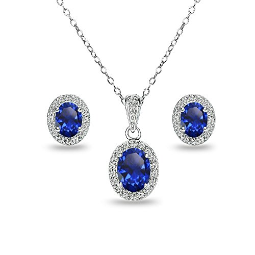 GemStar USA Sterling Silver Created Blue Sapphire and White Topaz Oval Halo Necklace and Stud Earrings Set